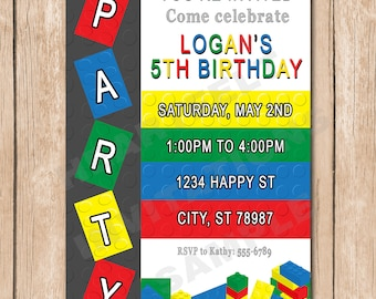 Building Blocks Birthday Party Invitation | 1.00 each printed