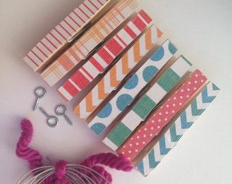 Kids Art Display. Clothesline Kit. Clothespins. Office. Chevron. Stripes. Photo Display. Photo Frame. Wall Garland. Home.