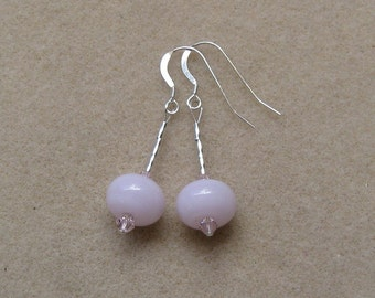 Pink SRA lampwork, crystal and sterling silver dangle earrings