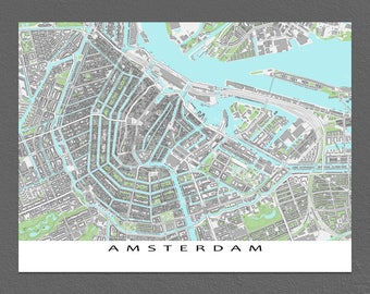 Amsterdam Map, Amsterdam Art Print, City Map, Holland, The Netherlands