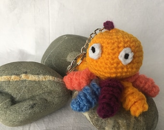 Key Amigurumi squid Octopus crochet bag charm, mothers day gift idea