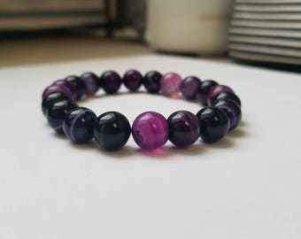 Purple agate beaded bracelet
