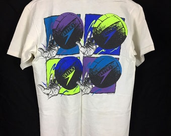 Vintage 1991 SPEEDO VolleyBall Graphic Shirt Artsy Hipster Swimming Mens Size Medium Made In USA Single Stitch
