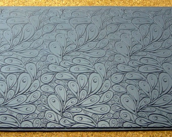 Mega PEACOCK  Rubber Clay Texture Stamp Tile  MGT-301