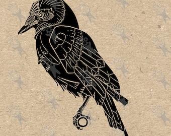 Digital printable image  vintage Art Nouveau Raven (Crow) Instant Download clipart graphic for transfers, scrapbooking, decor, etc HQ 300dpi