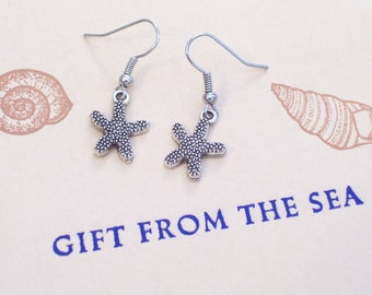 Small Antiqued Silver Starfish Earrings, Starfish Jewelry, Nautical Earrings, Beach Jewelry, Beach Earrings, Nautical Jewelry