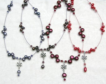 Pearl and Silver Celtic Infinity Knot Necklaces Tanzanite Purple, Burgundy, Violet, Fuchsia Pink