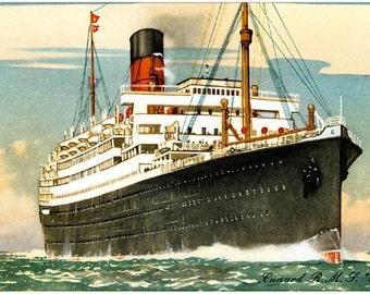 RMS Scythia Cunard Line troop ship refugee ship reproduction promotional postcard