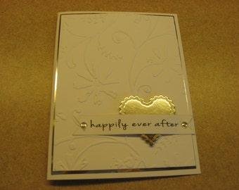 Handmade Wedding , Engagement  or Vow Renewal Card.  Embossed Card.