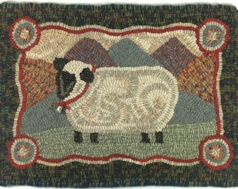 "Rug Hooking PATTERN, Sheep In The Hills, 12"" x 18"", J718, Primitive Rug Hooking, Folk Art Sheep Rug Pattern"