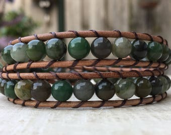 Genuine leather double wrap bracelet with african jade