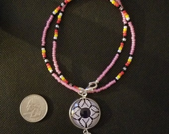 Beaded necklace and 25 mm charm Southwest Basket  design
