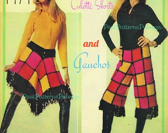 Vintage Knitting Pattern Womens 1970s Patchwork Squares Culottes Skirt Skorts Shorts and Gauchos Pants PDF Instant Download Groovy Boho