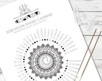 AUS AET moon calendar 2018 printable, moon phases wall art, instant download, moon art, gift for yoga lover, boho art, healing crystals