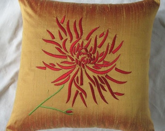 gold  throw pillow with red chrysanthemum floral  embroidery. decorative floral  cushion cover.  Spring decor. Custom made. 16 inch