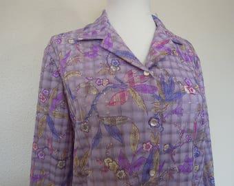 Vtg Lavender Plaid Floral Print Semi Sheer Polyester Blouse Medium Large 70's 80's