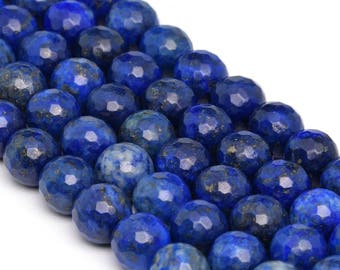 "10MM Faceted Lapis Lazuli Grade A Natural Gemstone Full Strand Round Loose Beads 15"" (100900-1346)"