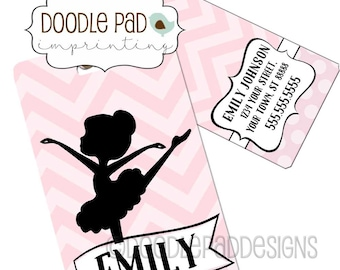 Dancing Ballerina Luggage Tag,  Personalized Girls Bag Tag