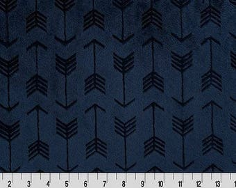 Shannon Fabrics Cuddle Navy Embossed Arrows Minky