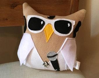 Owl-vis Plush Owl- Inspired by Elvis- Plush Elvis Owl- Elvis Plush toy -Owl-vis is in the House