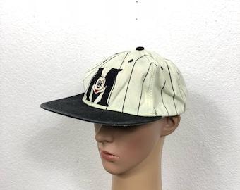 90's vintage striped mickey mouse snapback baseball cap