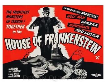 House of Frankenstein Movie Poster Art - Vintage Horror Print Art - Home Decor