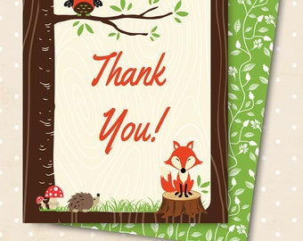 WOODLAND matching thank you card, forest animals, wood grain Digital, Printable file, owl and fox  shower party, woodland, hoot in tree