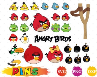 Angry birds svg,dxf,png/Angry birds clipart for Design,Print,Silhouette, Cricut