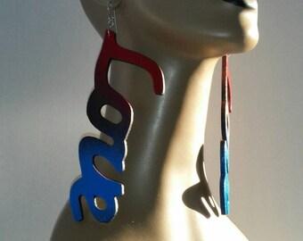 Wooden Love Earrings Embellished with Beautiful Multiple Colors, Long Earrings, Handmade Earrings, Large Earrings, Womens Earrings