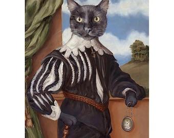 Black Cat, Prints, Cat Lover Gift, Gag Gift, Cat Print, Cat Portrait, Renaissance Cat