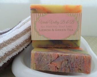 Lemon & Green Tea Soap, Lemon Tea Bar Soap, Lemon Tea Soap Bar, Lemon Tea Bath Soap, Citrus Soap, Handmade Soap, Natural Soap, Vegan Soap