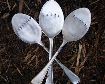 Vintage Silverware Garden Marker Set Herb