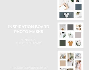 Inspiration Board Photo Masks | Mood Board Templates | Inspiration Board Templates | PNG Formatted | Canva Approved