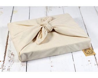 Furoshiki in organic cotton GOTS natural undyed, zero packaging waste, durable, eco-friendly, reusable, 75 x 75 cm.