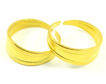 150 Pieces Raw Brass 8x20 mm Adjustable Ring Base Blanks