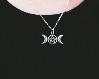 Silver Moon and Pentagram Necklace
