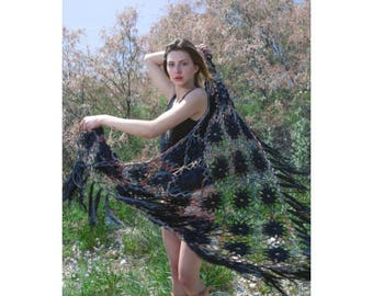 Black Dahlia - Hand Knitted Shawl (100% Cotton)