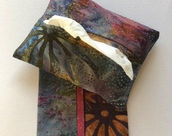 Fabric Purse Tissue Holders, Multi-color Batik Fabric,  Pocket Tissue Holders, Tissue Case, Handmade, Gift for her, Travel Tissue Holder