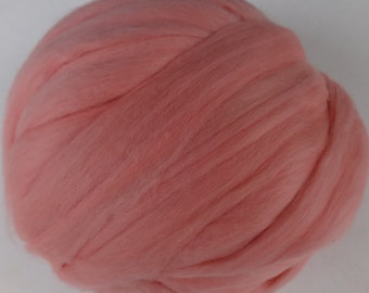 Roving, Merino Wool Roving, Wool Roving, Wool, Roving, Merino Roving, Felting Wool, Spinning Wool - Salmon - 8oz