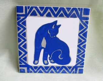 Hand printed / Vintage tile / Blue and white ceramic tile / Study of a cat / Ceramic wall plaque / Pot stand / Kitchen art