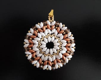 Pendant mandala pattern, gold, white and pink