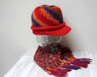Slouch cap hat tam rasta beanie beret and scarf set knit chunky handmade acrylic fringe red purple orange green variegated melange mix color