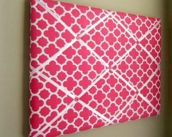 16x20 French Memory Board, Bow Holder, Bow Board, Vision Board, Photo Display, Business Card Display, Hot Pink Quatrefoil Memo Board