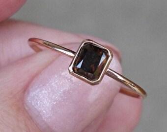 0.45 Carat Brown Diamond Bezel Set in 14K Rose Gold Minimalist Stacking or Engagement Ring
