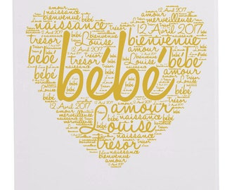 Canvas personalized birthstone heart Word cloud