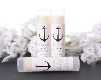Custom Wedding Favors - Wedding Lip Balms - Nautical Wedding Chapstick Favors - Custom Labels - Lip Balm Stickers and Tubes - #wdiL-150b
