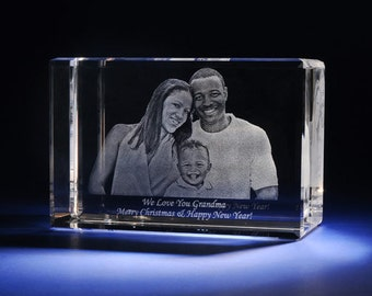 """Laser Crystal Personalized Engraving, 2D or 3D Crystal Cube, Laser Etched Picture in Glass by Goodcount Crystal, A1807, Size 5 X 3 x 2"""""""