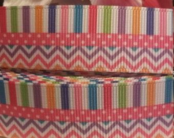 3 yards, 7/8' grosgrain ribbon 3 different pattern design