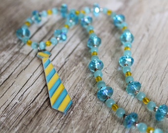 50% OFF CLEARANCE / Blue and Yellow Necktie Sparkly Necklace Earring Set / Yellow and Blue / Gifts for Her / Gifts for Teen Girls / Funky
