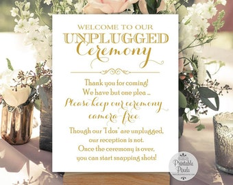 Gold Matte Printable Unplugged Ceremony Sign, Wedding Sign, Unplugged Wedding (#UN12G)